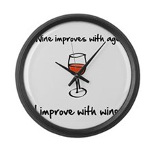 Wine Improves Large Wall Clock