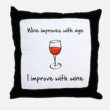 Wine Improves Throw Pillow