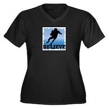 Believe (football) Women's Plus Size V-Neck Dark T