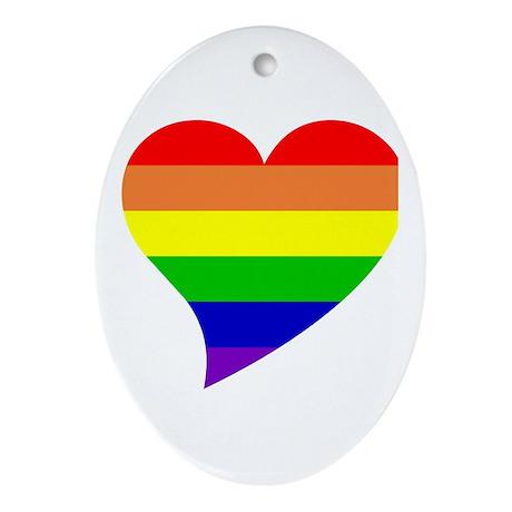 Rainbow Love Oval Ornament