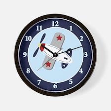 Airplane Aviator 10-inch Black Frame Wall Clock