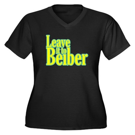 Leave it to Beiber Women's Plus Size V-Neck Dark T