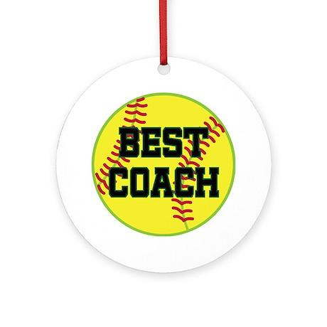 Softball Coach Gift Ornament (Round)