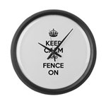 Keep Calm and Fence On Large Wall Clock