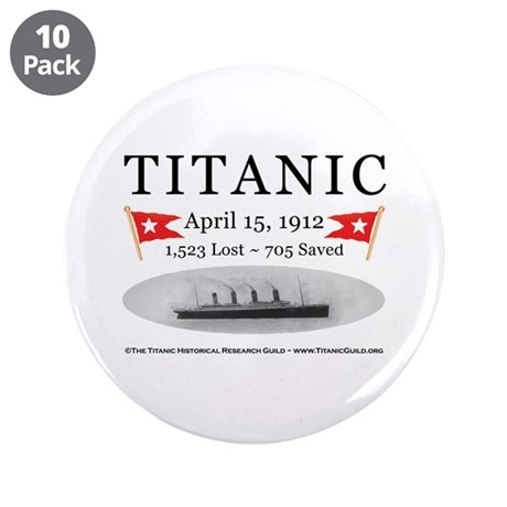 """Titanic Ghost Ship (white) 3.5"""" Button (10 pack)"""