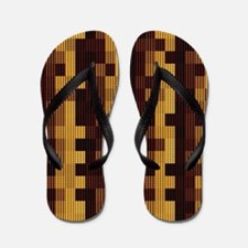 Brown abstract pattern Flip Flops