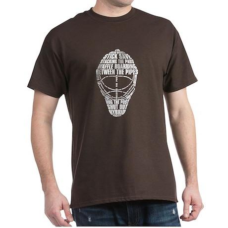 Hockey Goalie Mask Text Dark T-Shirt