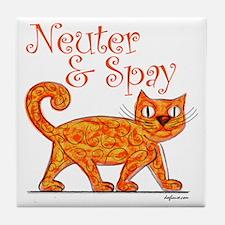 Neuter & Spay (Orange Cat) Tile Coaster