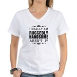 Kiki's Ruggedly Handsome Women's V-Neck T-Shirt