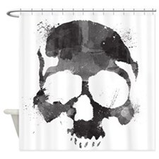 Watercolor Skull Shower Curtain