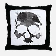 Watercolor Skull Throw Pillow