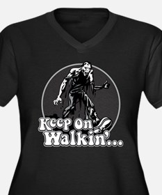 Keep On Walkin' Women's Plus Size V-Neck Dark T-Sh