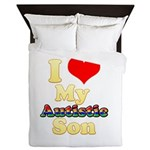 I Love My Autistic Son Queen Duvet