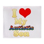 I Love My Autistic Son Throw Blanket