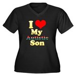I Love My Autistic Son Women's Plus Size V-Neck Da