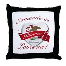 Illinois Heart Designs Throw Pillow