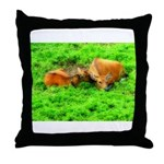 Nuzzling Cows Throw Pillow