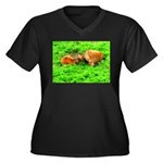 Nuzzling Cows Women's Plus Size V-Neck Dark T-Shir
