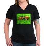 Nuzzling Cows Women's V-Neck Dark T-Shirt