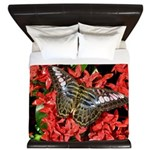 Butterfly on Red Flowers King Duvet