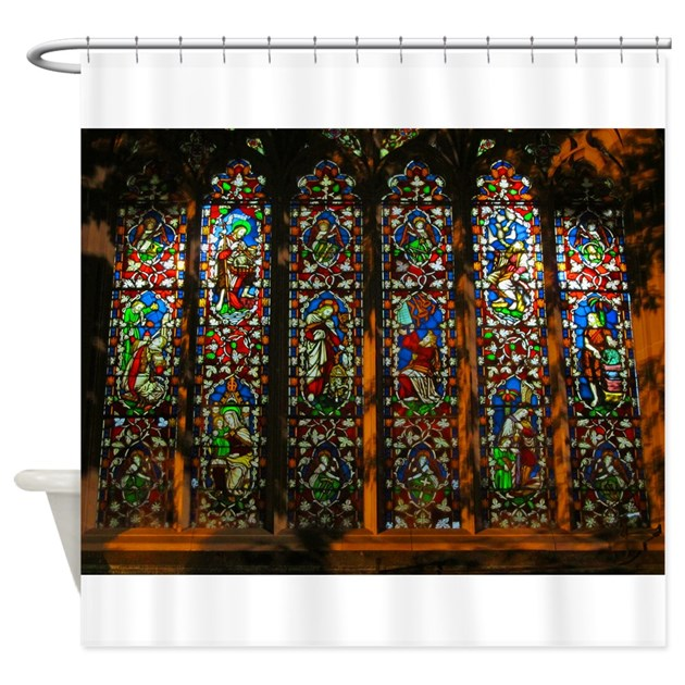Stained Glass Window Christ Shower Curtain By Frakfak