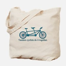Tandem Cyclists Do It Together Tote Bag