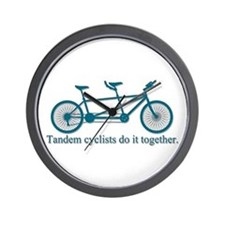 Tandem Cyclists Do It Together Wall Clock