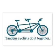 Tandem Cyclists Do It Together Postcards (Package