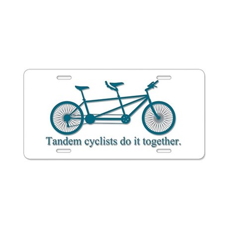Tandem Cyclists Do It Together Aluminum License Pl