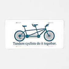 Tandem Cyclists Do It Together Aluminum License Pl