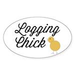 Logging Chick Sticker (Oval)