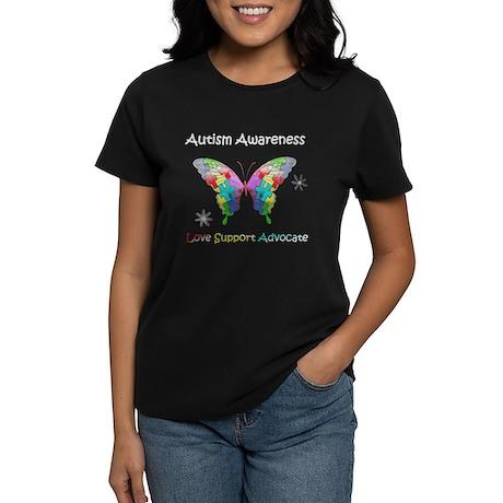 Autism Awareness Butterfly Women's Dark T-Shirt