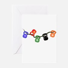 Kettle Bell Christmas Lights Greeting Cards (Pk of