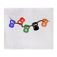 Kettle Bell Christmas Lights Throw Blanket