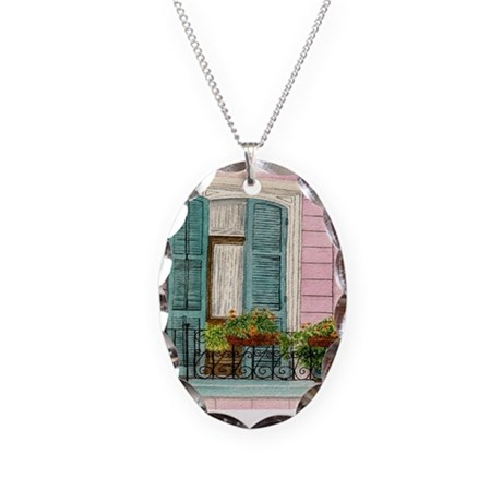 New Orleans Door Necklace Oval Charm