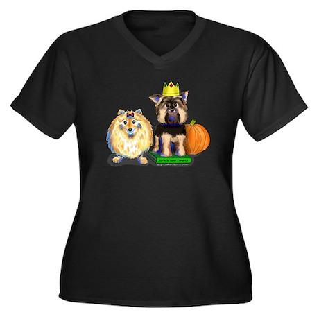 Pomeranian and Yorkie Women's Plus Size V-Neck Dar