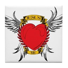 Jesus Heart Tattoo Tile Coaster