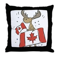 Canada Day Moose Throw Pillow