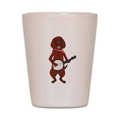 Banjo Bloodhound dog Shot Glass