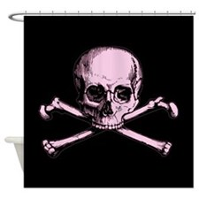 Pink Skull and Crossbones Shower Curtain