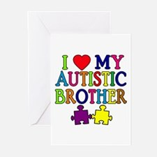 I Love My Autistic Brother Greeting Cards (Pk of 1