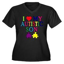 I Love My Autistic Son Tshirts Women's Plus Size V