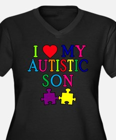 I Love My Autistic Son Tshirts Women's Plus Size V