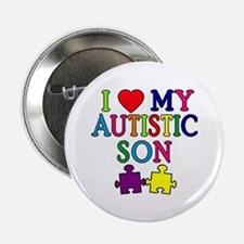 "I Love My Autistic Son Tshirts 2.25"" Button"