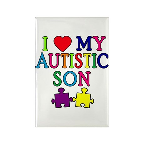 I Love My Autistic Son Tshirts Rectangle Magnet (1