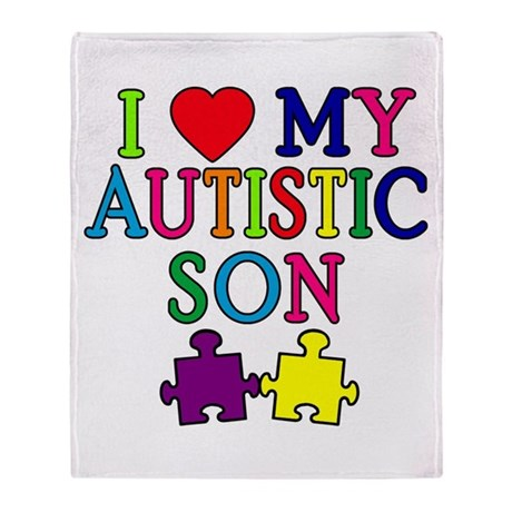 I Love My Autistic Son Tshirts Throw Blanket