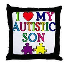 I Love My Autistic Son Tshirts Throw Pillow