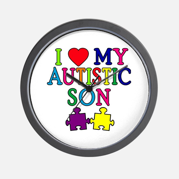 I Love My Autistic Son Tshirts Wall Clock