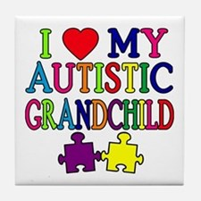 I Love My Autistic Grandchild Tshirts Tile Coaster