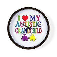 I Love My Autistic Grandchild Tshirts Wall Clock
